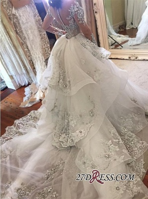 Appliques High-Neck Tulle Long-Sleeves Glamorous Detachable-Train Wedding Dresses BA7171_1