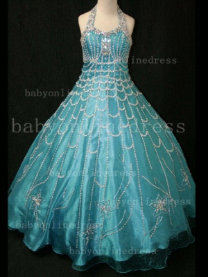 Flower Rhinestone Glitz Pageant Dresses for Girls Unique Wholesale 2020 Beaded Ball Gown Girls Dresses_5