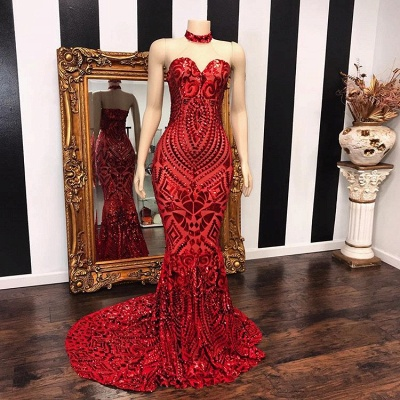 Sexy Red Sequins Prom Dresses   2020 Mermaid Sweetheart Long Evening Gowns_2