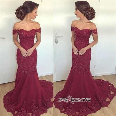 Off-the-Shoulder Mermaid Long Glamorous Burgundy Lace Appliques Evening Dress_1