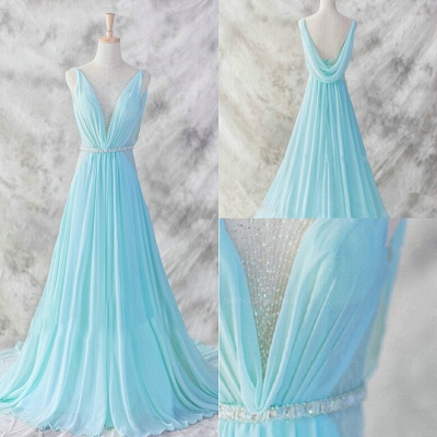 Elegant V-Neck Sleeveless Chiffon Evening Dress With Beadings Sequins Prom Gowns_4