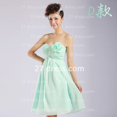 Bridesmaid Dresses,knee-length Prom Gown A-line 12 Styles Chiffon Ruffles_4