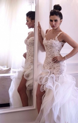 Sexy Scoop Sleeveless Hi-Lo Wedding Dress Open Back Lace Appliques Ruffles Bridal Gown_7