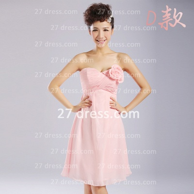 Bridesmaid Dresses,knee-length Prom Gown A-line 12 Styles Chiffon Ruffles_10