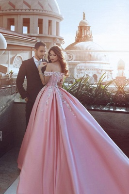 Glamorous Off-the-Shoulder Princess candy Pink 2020 Evening Dress With Appliques BA7675_3