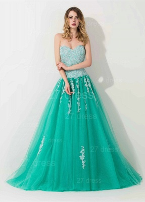 Modern Sweep Train Lace Appliques Evening Dress Princess Tulle Sleeveless_1