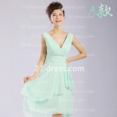 Bridesmaid Dresses,knee-length Prom Gown A-line 12 Styles Chiffon Ruffles_1
