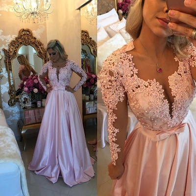 Elegant Lace Appliques Long Sleeve 2020 Evening Dress With Beads BA7546_3