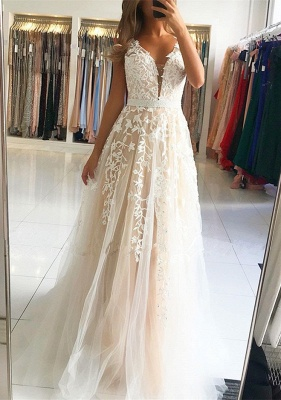 Elegant V-Neck Sleeveless Prom Dresses | 2020 Long Lace Evening Gowns On Sale_1