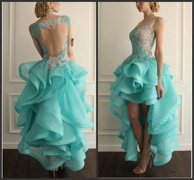 Sexy Hi-Lo Sleeveless Prom Dress With Appliques Ruffles_1