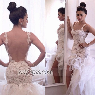 Sexy Scoop Sleeveless Hi-Lo Wedding Dress Open Back Lace Appliques Ruffles Bridal Gown_5
