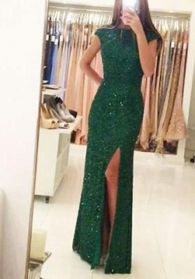 Floor-length Backless Sheath-Column Sequins Sexy Green Evening Dress_3