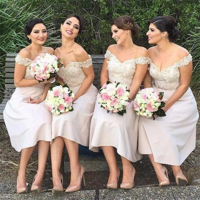 Short Lace Glamorous Off-the-Shoulder Bridesmaids Dress_2