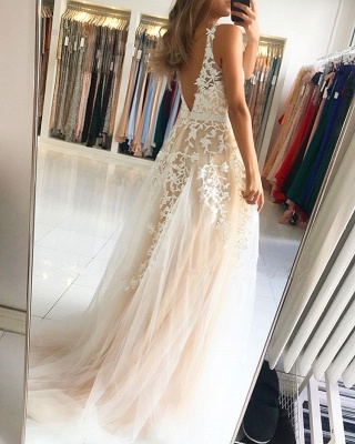 Elegant V-Neck Sleeveless Prom Dresses | 2020 Long Lace Evening Gowns On Sale_3