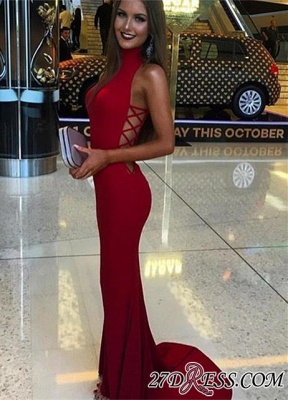 Red Sleeveless High-Neck Mermaid Sexy Sweep-Train Prom Dress BA4418_2