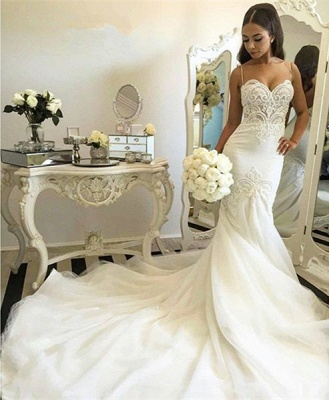 Delicate Tulle Lace Spaghetti Strap Wedding Dress 2020 Court Train_5