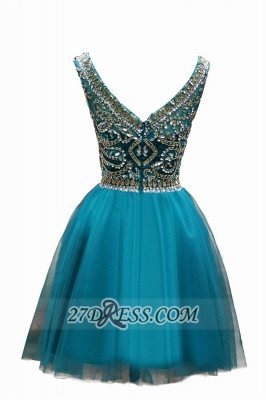 Elegant Scoop Cap Sleeve Cocktail Dress Crystals Tulle Short Homecoming Gown BC1044_2