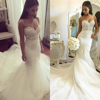Delicate Tulle Lace Spaghetti Strap Wedding Dress 2020 Court Train_4