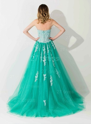 Modern Sweep Train Lace Appliques Evening Dress Princess Tulle Sleeveless_3
