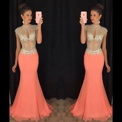 Stunning High-Neck Crystal Prom Dresses 2020 Mermaid Long Chiffon Party Gown TD036 AP0_3