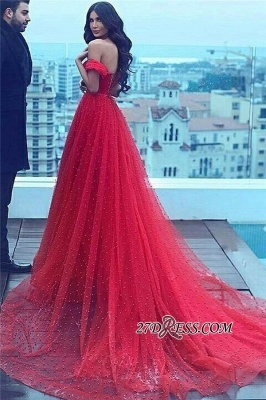 A-line Amazing Sweetheart Red Court-Train Off-the-shoulder Beading 2020 Evening Dress BA5178_2
