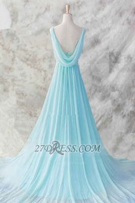 Elegant V-Neck Sleeveless Chiffon Evening Dress With Beadings Sequins Prom Gowns_2