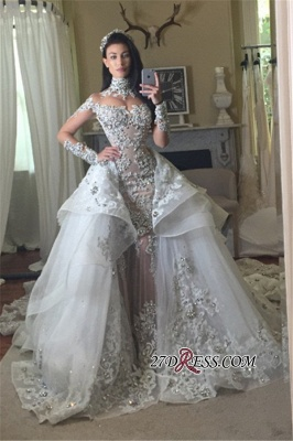 Appliques High-Neck Tulle Long-Sleeves Glamorous Detachable-Train Wedding Dresses BA7171_2