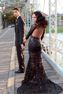 Sexy Black Long Sleeve Appliques Evening Dress 2020 Open Back With Train BK0_1