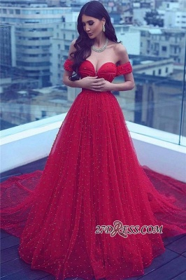 A-line Amazing Sweetheart Red Court-Train Off-the-shoulder Beading 2020 Evening Dress BA5178_1
