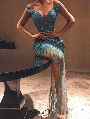 Sexy Off-the-shoulder Bodycon Beads Prom Dress | 2020 Lace Prom Dress_1