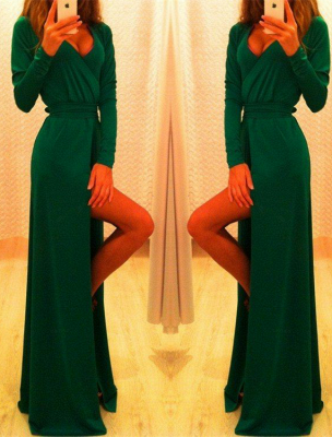 Elegant Long Sleeve Green Prom Dress 2020 Long Front Split Party Gowns_3