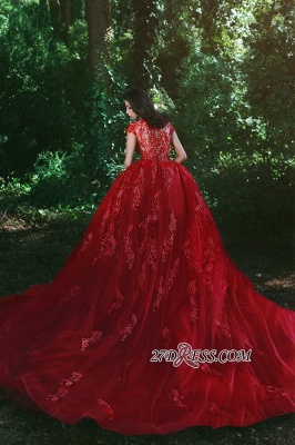 Luxurious Red Cap Sleeve 2020 Prom Dress Lace Appliques With Ruffles MH0_3