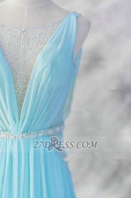 Elegant V-Neck Sleeveless Chiffon Evening Dress With Beadings Sequins Prom Gowns_3