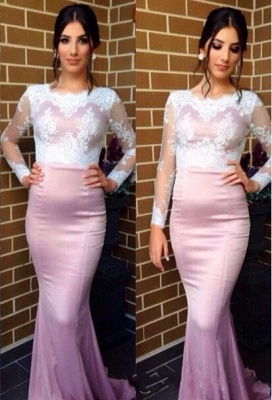 Sexy Jewel Long Sleeve Mermaid Prom Dress With Lace Appliques_1