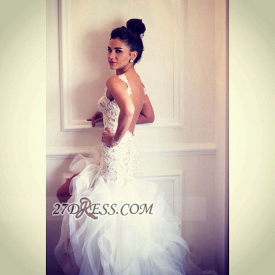 Sexy Scoop Sleeveless Hi-Lo Wedding Dress Open Back Lace Appliques Ruffles Bridal Gown_6