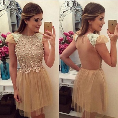 Newest Pearls Lace Appliques 2020 Cocktail Dress Short Cap Sleeve Tulle_3
