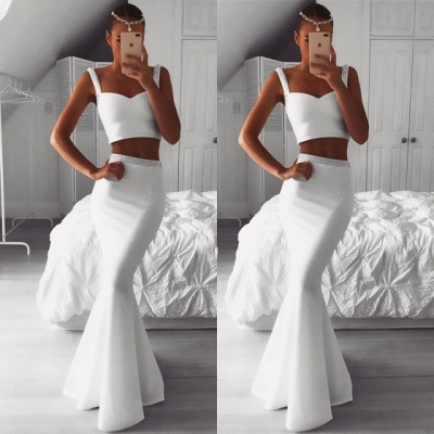 Gorgeous Two Pieces White Prom Dress   Mermaid Beadings Evening Gowns On Sale_3