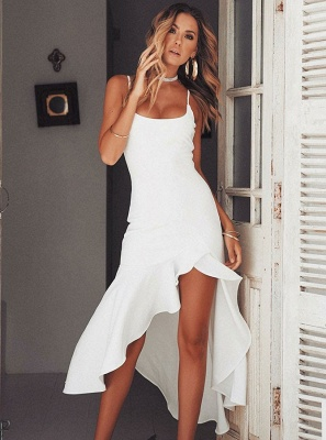 Charming Spaghetti Strap Sleeveless White Prom Dress | Mermaid Ruffles 2020 Long Evening Gowns_1