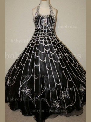 Flower Rhinestone Glitz Pageant Dresses for Girls Unique Wholesale 2020 Beaded Ball Gown Girls Dresses_6