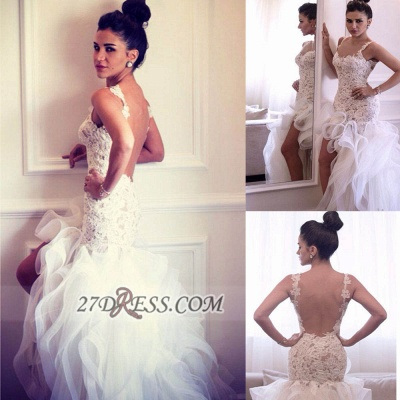 Sexy Scoop Sleeveless Hi-Lo Wedding Dress Open Back Lace Appliques Ruffles Bridal Gown_2
