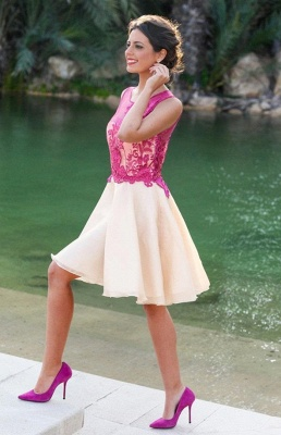 Short Sleeveless Fuchsia lovely Appliques Chiffon Lace Homecoming Dress_1
