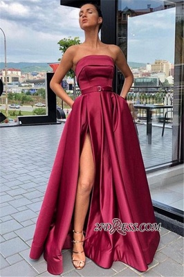Burgundy Strapless A-Line Prom Gown | Sexy Side-Slit Sleeveless Evening Gown_1