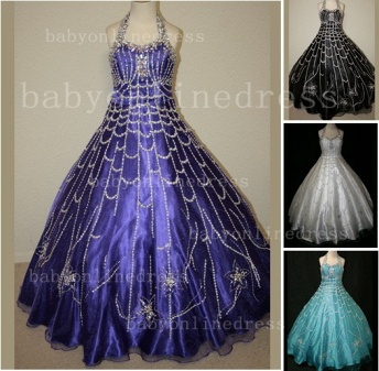 Flower Rhinestone Glitz Pageant Dresses for Girls Unique Wholesale 2020 Beaded Ball Gown Girls Dresses_1