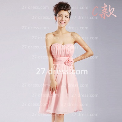 Bridesmaid Dresses,knee-length Prom Gown A-line 12 Styles Chiffon Ruffles_9