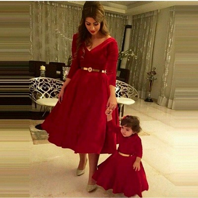 Dramtic 3/4-length-sleeve Red Mother And Daughter Dress Belt_2