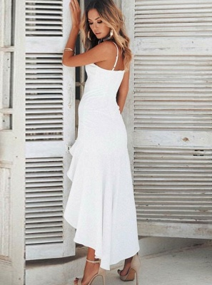 Charming Spaghetti Strap Sleeveless White Prom Dress | Mermaid Ruffles 2020 Long Evening Gowns_3