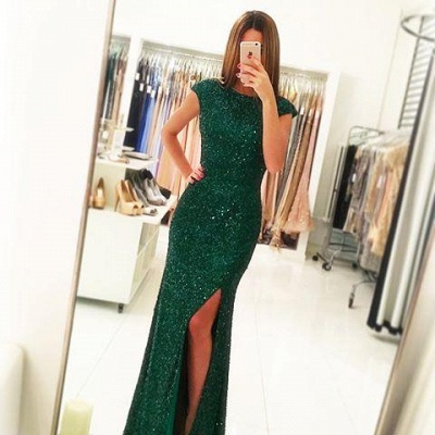 Floor-length Backless Sheath-Column Sequins Sexy Green Evening Dress_2