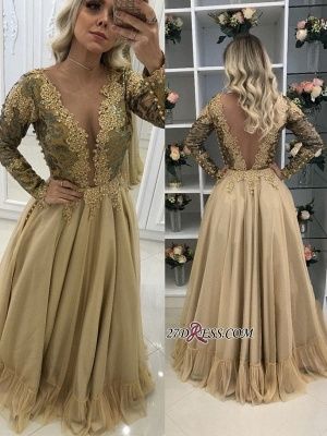2020 prom dress with gold appliques, long sleeves evening dresses_2