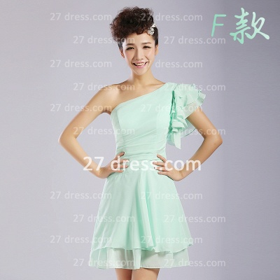 Bridesmaid Dresses,knee-length Prom Gown A-line 12 Styles Chiffon Ruffles_6