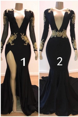 Sexy Black Long Sleeve Prom Dresses   2020 Gold Appliques Evening Gowns On Sale 1BC0583_1